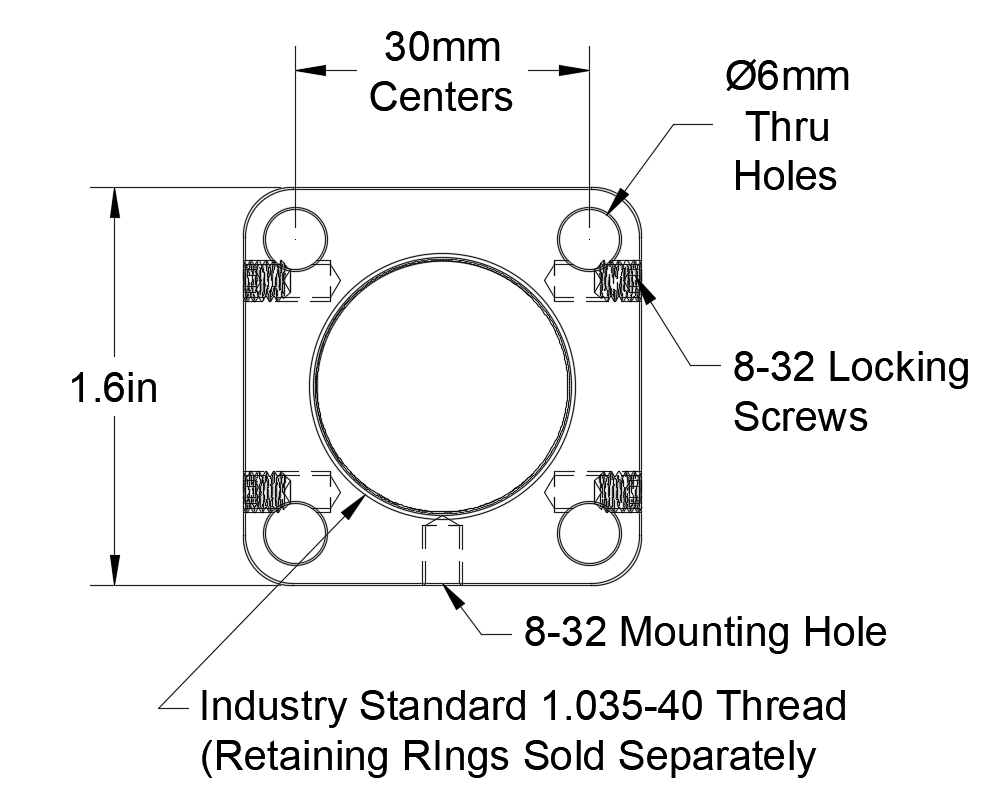 30mm Cage Plate 1.035-40 Threaded