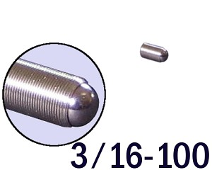 "3/16""-100 Fine Adjustment Screw - 0.38 in (3/8 in) Long"