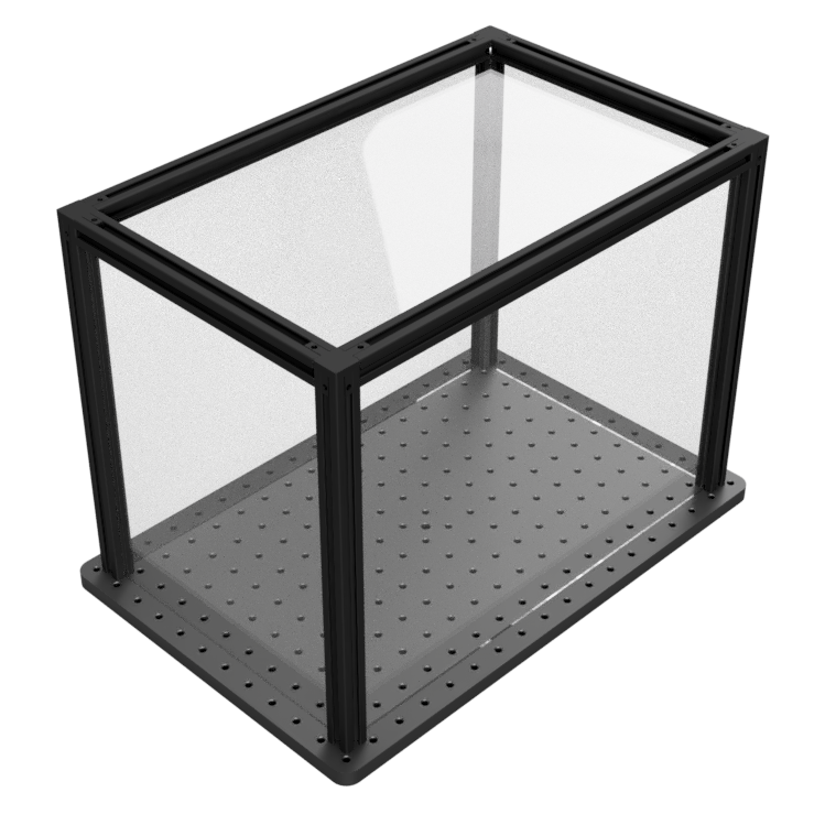 Optical enclosure with Plexiglas sides