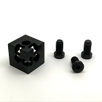 X2020 Black Anodized Aluminum Notched Corner Cubes For Enclosures