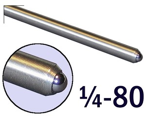"1/4""-80 Fine Adjustment Screw - 3.25 in (3 1/4 in) Long"